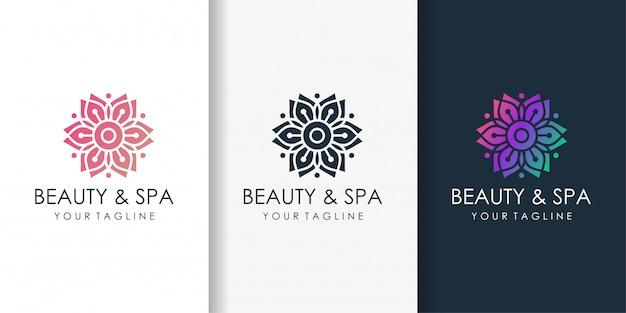 Logotipo de belleza y spa con color degradado de belleza y plantilla de diseño de tarjeta de visita
