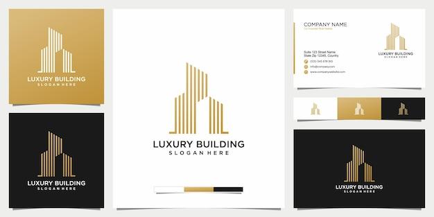 Logotipo de bienes raíces de edificios y tarjeta de visita.