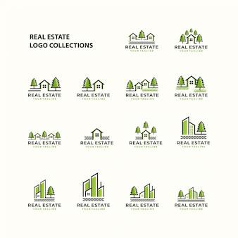 Logotipo de bienes raíces establece plantilla de icono
