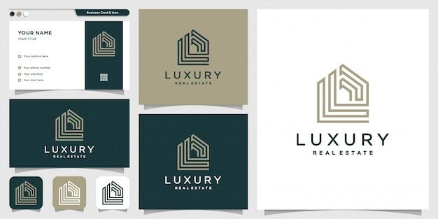 Logotipo de bienes raíces con estilo de arte de línea y plantilla de diseño de tarjeta de visita, edificio, construcción, finca, nuevo concepto, monograma