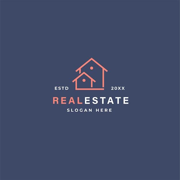 Logotipo de bienes raíces en estilo de contorno con casas.