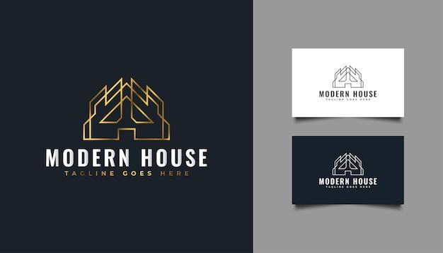 Logotipo de bienes raíces con estilo de línea en degradado dorado. logotipo de construcción, arquitectura, edificio o casa