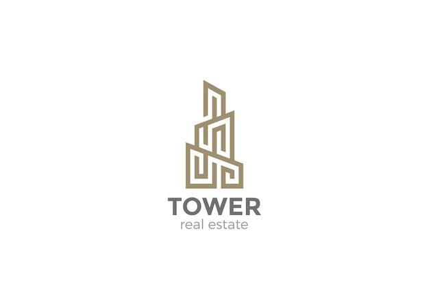 Logotipo de bienes raíces. estilo lineal