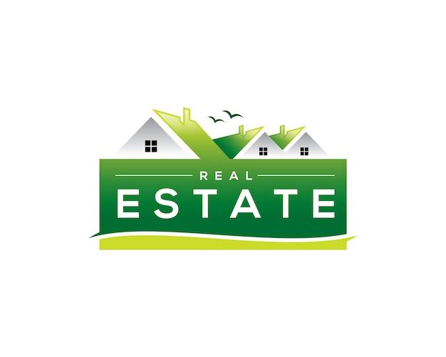 Logotipo de bienes raíces verdes