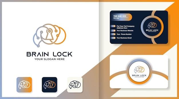 El logotipo de bloqueo cerebral utiliza un circuito circular y un diseño de tarjeta de visita.