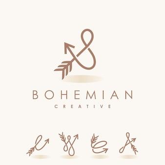 Logotipo bohemio con concepto múltiple