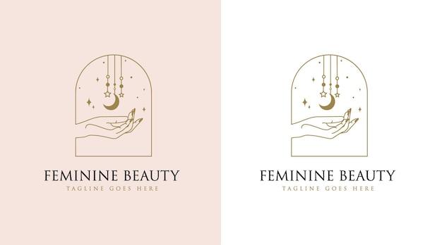 Logotipo de boho de belleza femenina con uñas de mano de mujer, luna y estrella para marcas de spa de salón de maquillaje de moda