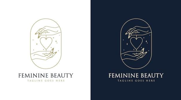 Logotipo de boho de belleza femenina con mano de mujer uña rosa flor rama hoja estrella para salón de maquillaje spa