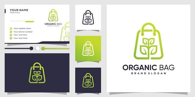 Logotipo de bolsa orgánica con concepto abstracto moderno y diseño de tarjeta de visita.