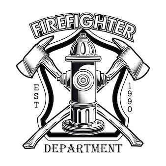Logotipo de bombero con ilustración de vector de hidrante. hachas cruzadas y texto del departamento de bomberos.