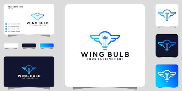 Logotipo de bombilla y alas con estilo de arte lineal e inspiración para tarjetas de presentación.