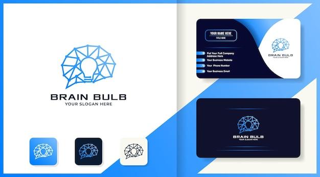 Logotipo de bombilla cerebral con concepto de circuito y diseño de tarjeta de visita