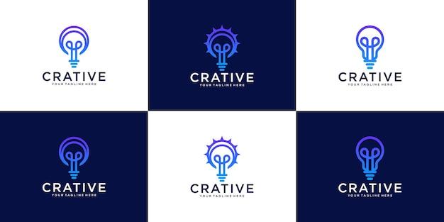 Logotipo de bombilla creativa de colección de logotipos con estilo de arte lineal