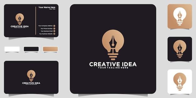 Logotipo de bombilla y diseño de icono de bolígrafo y tarjeta de visita