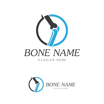 Logotipo de bone plus. icono de hueso sano. plantilla de logotipo de protección para el cuidado de las articulaciones y los huesos de la rodilla. diseño de logotipo plano médico. vector de la salud del cuerpo humano. símbolo del emblema
