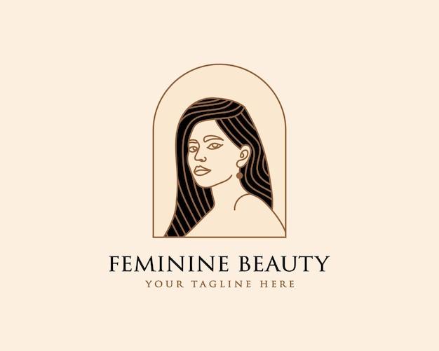 Logotipo botánico de la cara de la belleza floral de la mujer femenina para la marca del cuidado del cabello de la piel de la moda del salón del balneario