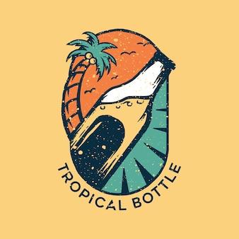 Logotipo de botella tropical