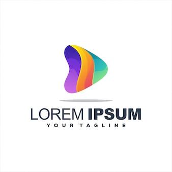 Logotipo de botón de reproducción gradiente