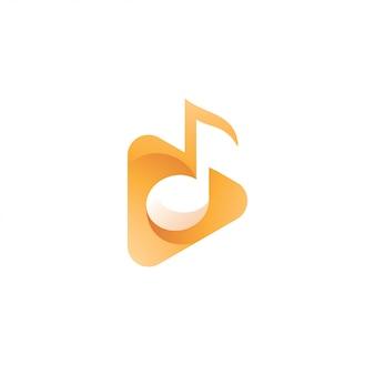 Logotipo de botón de reproducción de melodía y triángulo musical