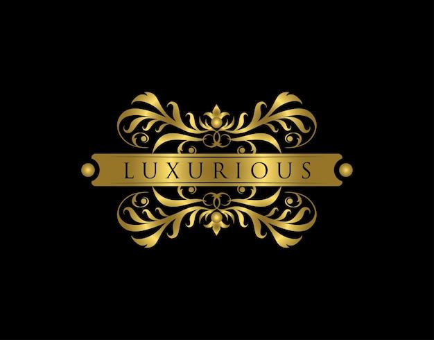 Logotipo de boutique de lujo diseño de insignia floral dorado para royalty letter stamp boutique hotel heráldica joyería boda