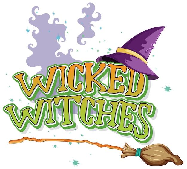 Logotipo de brujas malvadas en blanco