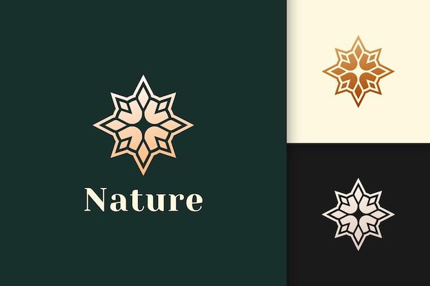 Logotipo de brújula en estilo moderno y lujoso con color dorado.