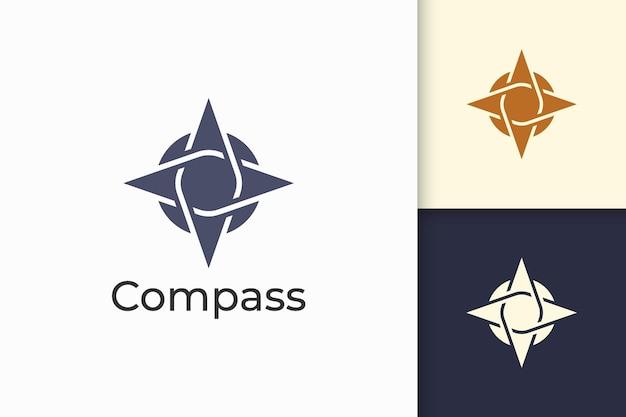 Logotipo de brújula en forma moderna y abstracta para empresa de tecnología
