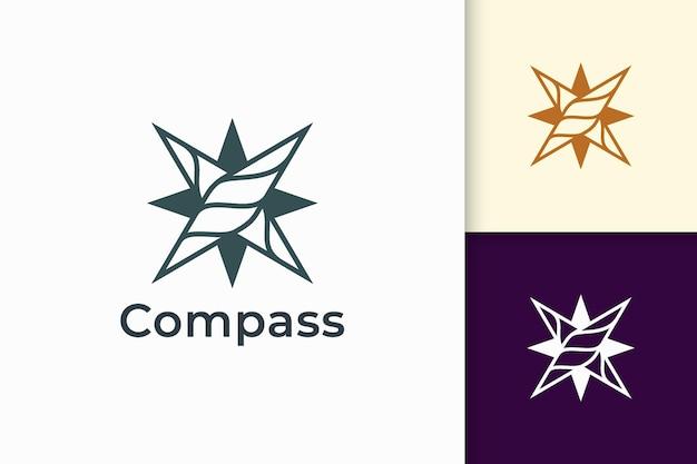 El logotipo de la brújula en forma moderna representa viajes o aventuras