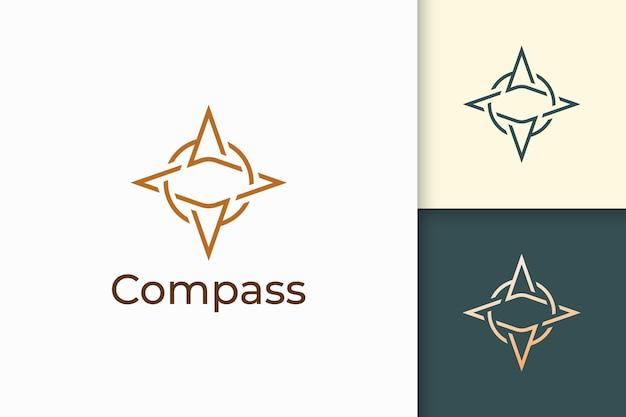 Logotipo de brújula en forma simple para negocios al aire libre o comunidad