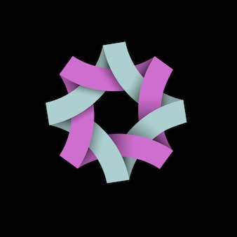 Logotipo de bucle infinito abstracto en negro, papel origami 3d