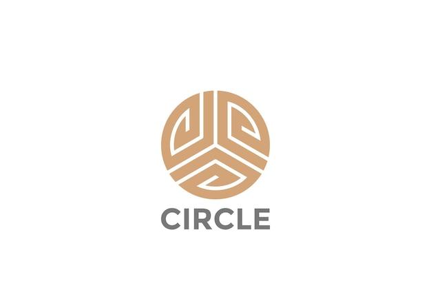Logotipo de bucle infinito de moda de lujo de círculo dorado.