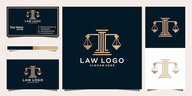 Logotipo de bufete de abogados creativo y tarjeta de visita.