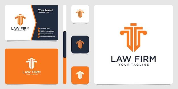 Logotipo de bufete de abogados y plantilla de diseño de tarjeta de visita