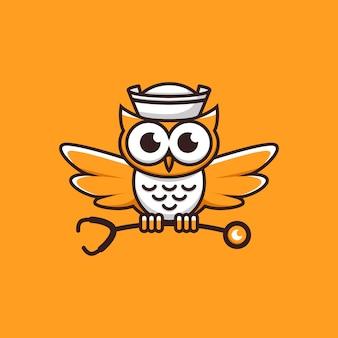 Logotipo de buho de enfermería naranja