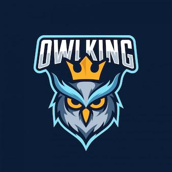Logotipo de búho rey esport