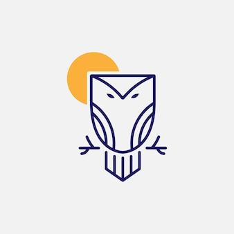 Logotipo del búho y el sol con estilo minimalista.