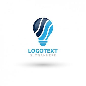 Logotipo del bulbo hecha con ondas azules