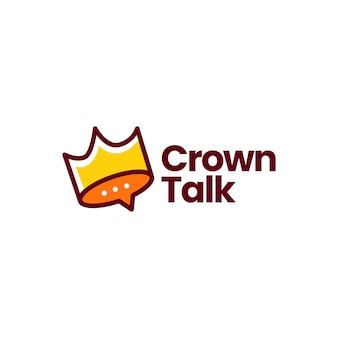 Logotipo de burbuja de chat de chat de corona de rey