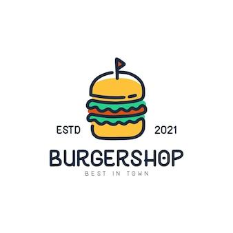 Logotipo de burgershop monoline