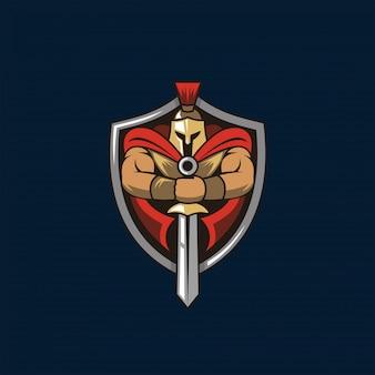 Logotipo de caballero espartano y escudo