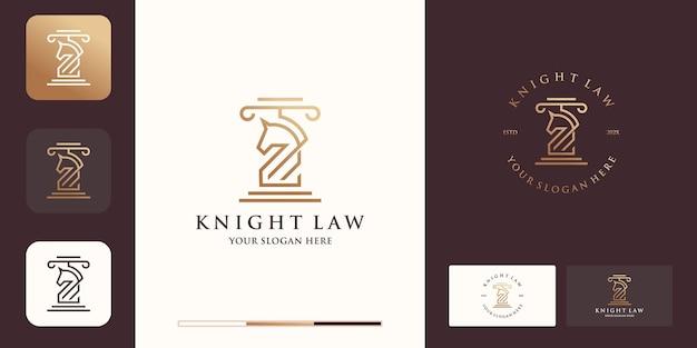 Logotipo de caballo legal con estilo de línea y diseño de tarjeta de visita.
