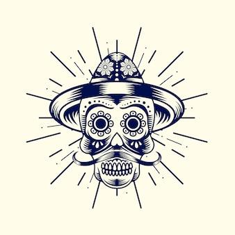 Logotipo de cabeza de calaca mexicana