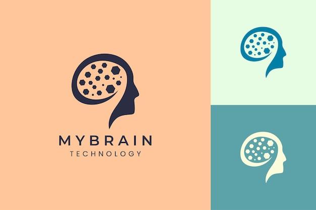 Logotipo de cabeza y cerebro para marca de tecnología.