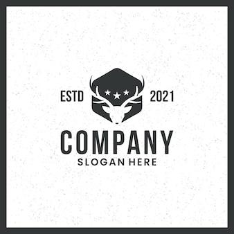 Logotipo de cabeza de ciervo, para cazadores, profesionales y marcas, con concepto hexagonal