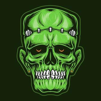 Logotipo de la cabeza del cráneo frankenstein
