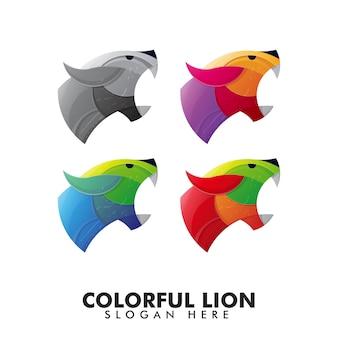 Logotipo de cabeza de león colorido