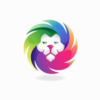 Logotipo de cabeza de león con concepto de color degradado