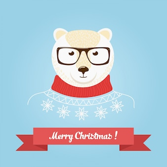 Logotipo de la cabeza del oso de navidad