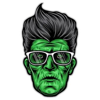 Logotipo de la cabeza de rockabilly frankenstein