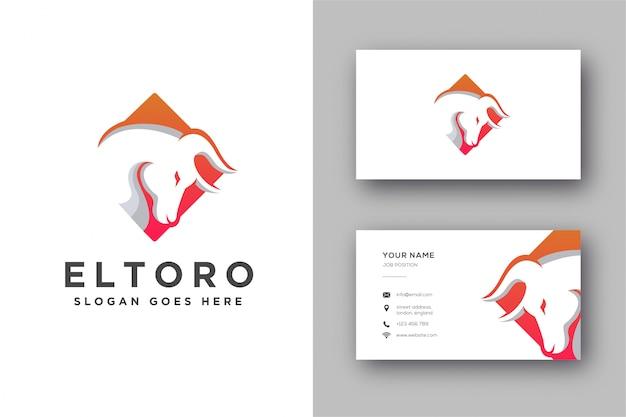 Logotipo de cabeza de toro abstracto moderno y tarjeta de visita